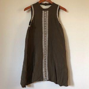 O'NEILL Olive Green Sleeveless High Neck Dress | L